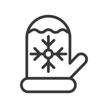 Vecteur de gant de Noël, icône de conception de ligne liée à Noël