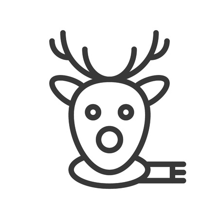 Reindeer face vector, Christmas related line design icon