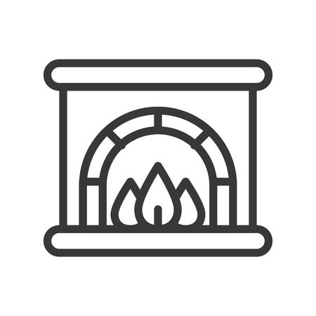 Fireplace vector, Christmas related line design icon