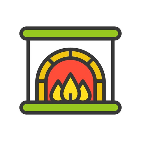 Fireplace vector, Christmas related filled design icon, editable outline Illustration