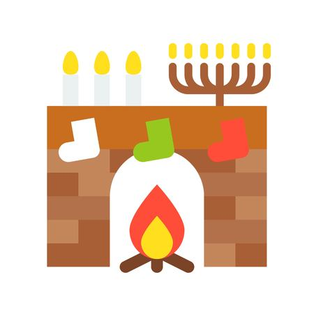 Fireplace vector, Christmas related flat design icon