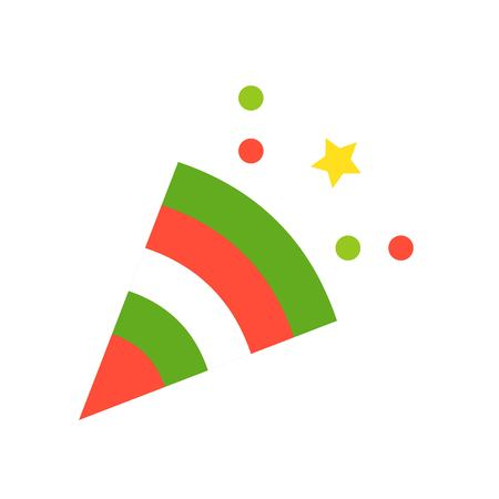 Party popper vector, Christmas related flat design icon