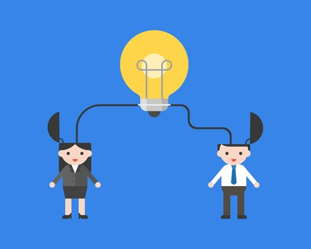 Light bulb connect with businesspeople, merge ideas concept vector illustration