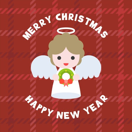 cute angel for merry christmas flat design poster