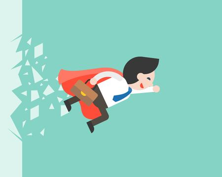 Super Businessman flying through a glass, business situation vector