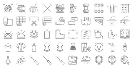 Sewing, handcraft and fashion design related icon editable outline