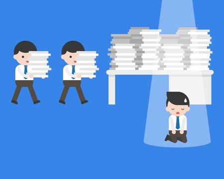 Businessman kneeling in front of table with work overload, vector illustration Stock Illustratie