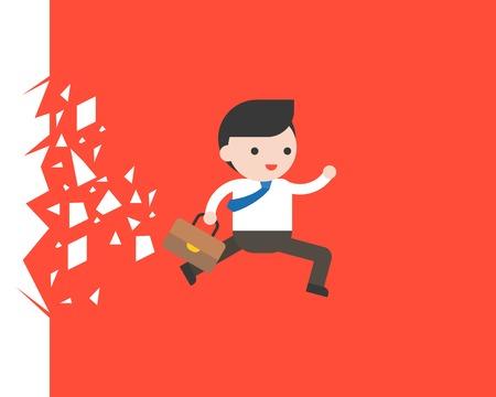Homme d'affaires qui traverse un verre, illustration vectorielle de situation commerciale Vecteurs