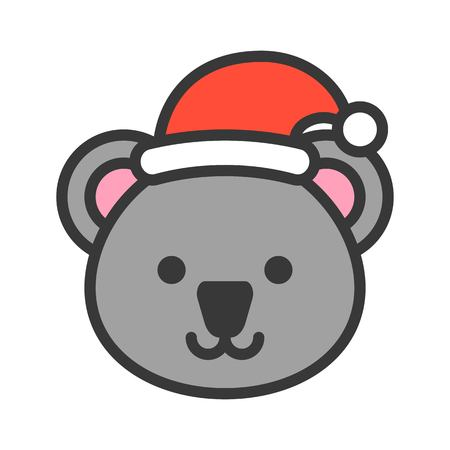 koala wearing santa hat, outline icon editable stroke