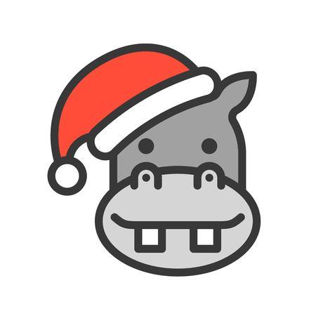hippo wearing santa hat outline icon editable stroke Ilustração