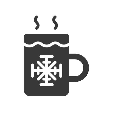 Hot drinks vector, Chirstmas related solid design icon Stock Illustratie