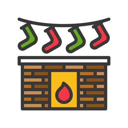 Fireplace vector, Chirstmas related filled design icon editable outline
