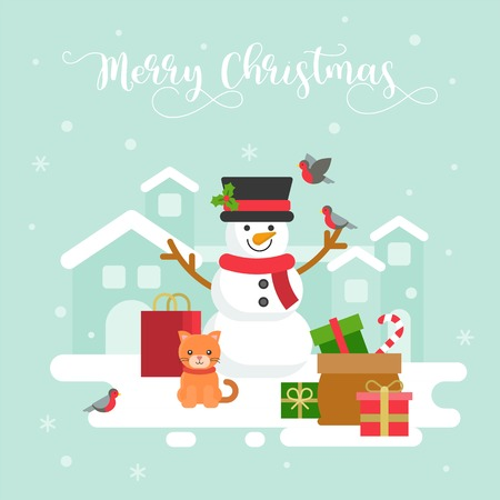 snowman winter theme with cat and gift box,background for christmas flat design