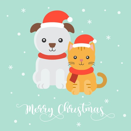 cute puppy and kitten for christmas poster,flat design