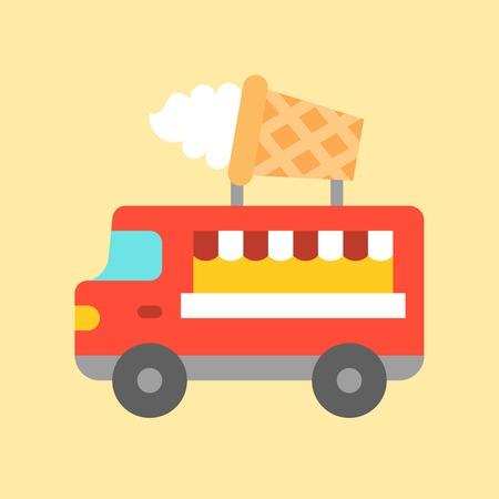 Ice cream truck vector, Food truck flat design icon