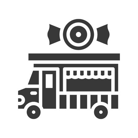 Candy truck vector, Food truck solid design icon