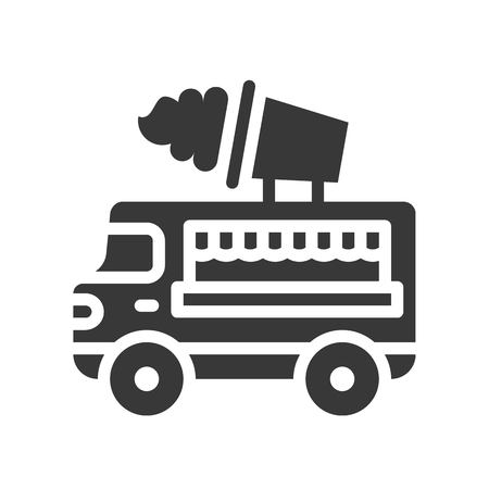 Ice cream truck vector, Food truck solid design icon