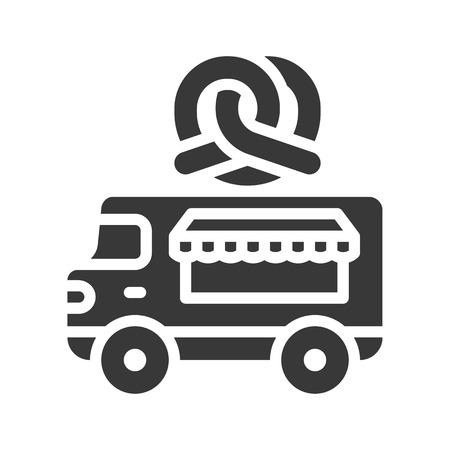 Pretzel truck vector, Food truck solid design icon