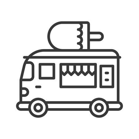 Vector de camión de helados, icono de trazo editable de diseño de línea de camión de comida