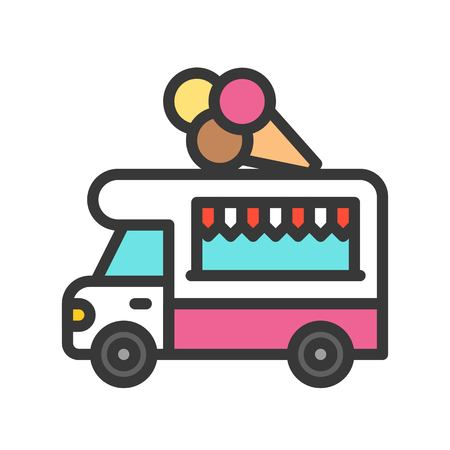 Ice cream truck vector, Food truck filled design editable stroke icon