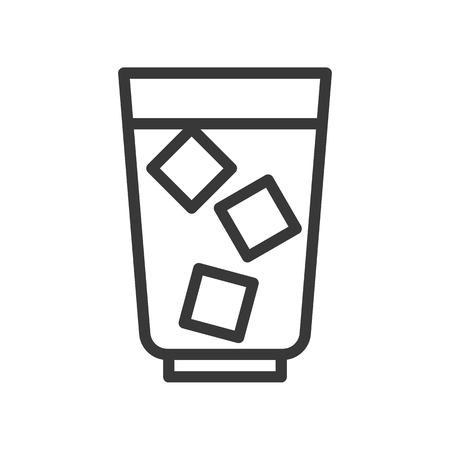 Iced coffee vector, coffee related line design editable stroke icon