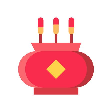 Incense pot vector, Chinese New Year related flat design icon 일러스트
