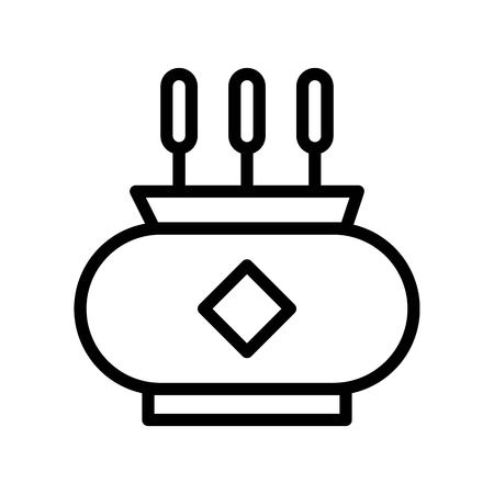 Incense pot vector, Chinese New Year related line design icon editable stroke