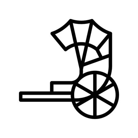 Rickshaw vector, Chinese New Year related line design icon editable stroke