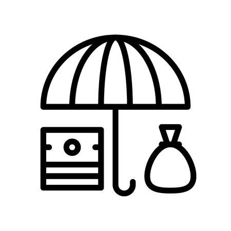Asset Protection Vektor, versicherungsbezogenes Liniendesign editierbares Strichsymbol