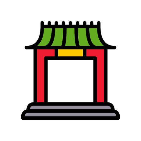 Chinese architectural arch vector, Chinese lunar new year filled outline style icon