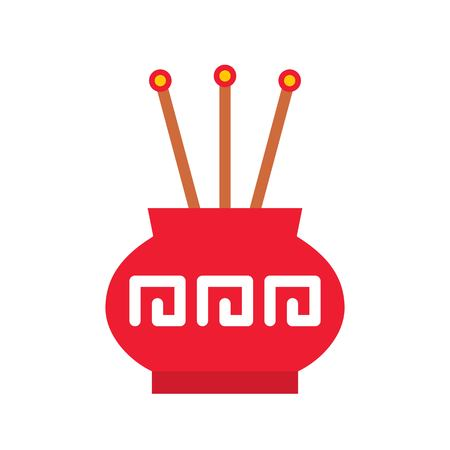 Incense pot vector, Chinese lunar new year flat style icon