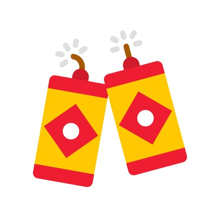 Firecracker vector, Chinese lunar new year flat style icon