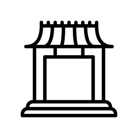 Chinese architectural arch vector, Chinese lunar new year line style icon