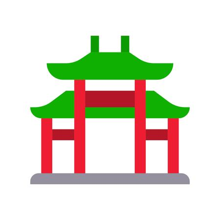 Chinese architectural arch vector, Chinese lunar new year flat design icon