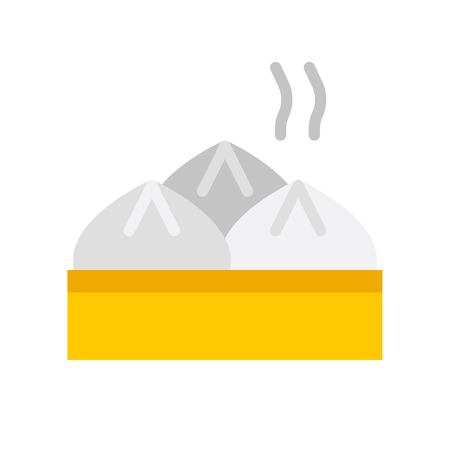 Steamed bun vector, Chinese lunar new year flat design icon