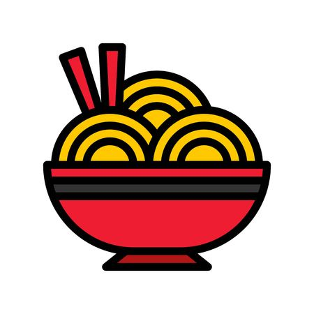 Noodle vector, Chinese lunar new year filled icon, editable outline  イラスト・ベクター素材