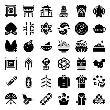 Chinese lunar new year vector icon set, solid style