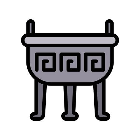 Incense pot vector, Chinese lunar new year filled icon, editable outline