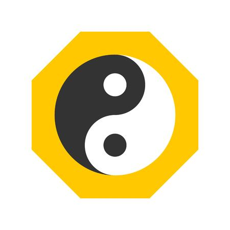Yin and yang vector, Chinese lunar new year flat design icon 免版税图像 - 125482238