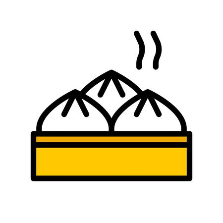 Steamed bun vector, Chinese lunar new year filled icon, editable outline