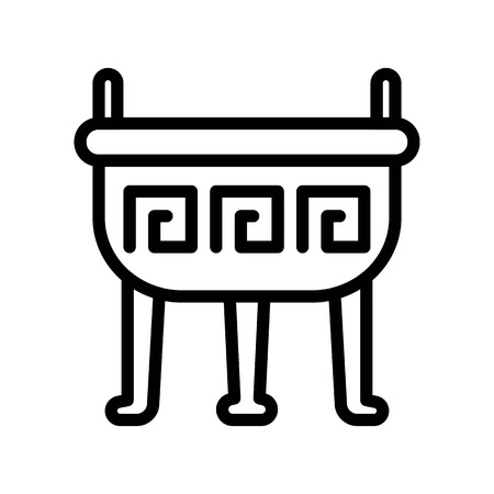 Incense pot vector, Chinese lunar new year line design icon 일러스트