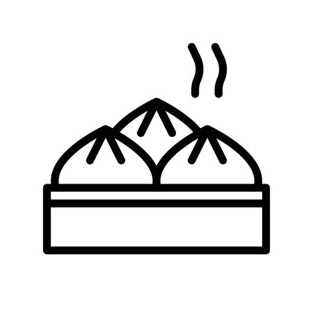 Steamed bun vector, Chinese lunar new year line design icon Illustration