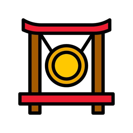 Gong vector, Chinese lunar new year filled icon, editable outline