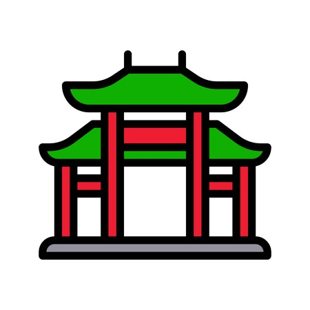 Chinese architectural arch vector, Chinese lunar new year filled icon, editable outline