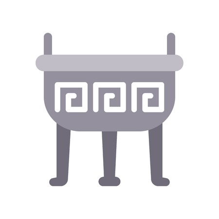 Incense pot vector, Chinese lunar new year flat design icon