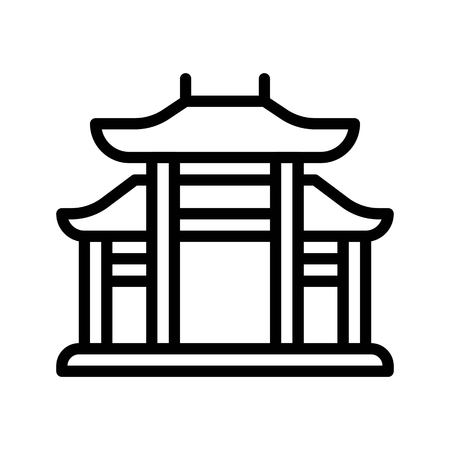 Chinese architectural arch vector, Chinese lunar new year line design icon