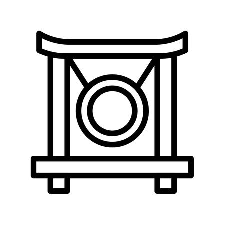 Gong vector, Chinese lunar new year line design icon