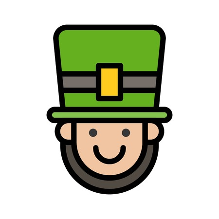 Pilgrim face vector, Feast of Saint Patrick filled style icon editable outline
