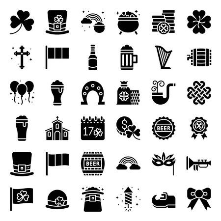 Fête de la Saint Patrick vector set, icône de style solide