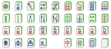mahjong tiles set. vector illustration in flat design Standard-Bild - 117328403